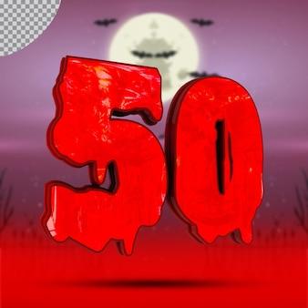 할로윈의 3d 숫자 50