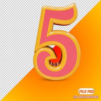3d number 5