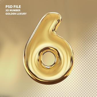 3d номер 6 золотой роскошный рендер
