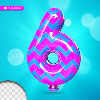 3d number 6 helium foil balloon