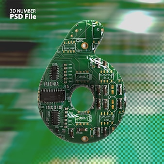 3d номер 6 текстуры электронных плат pcb рендеринга