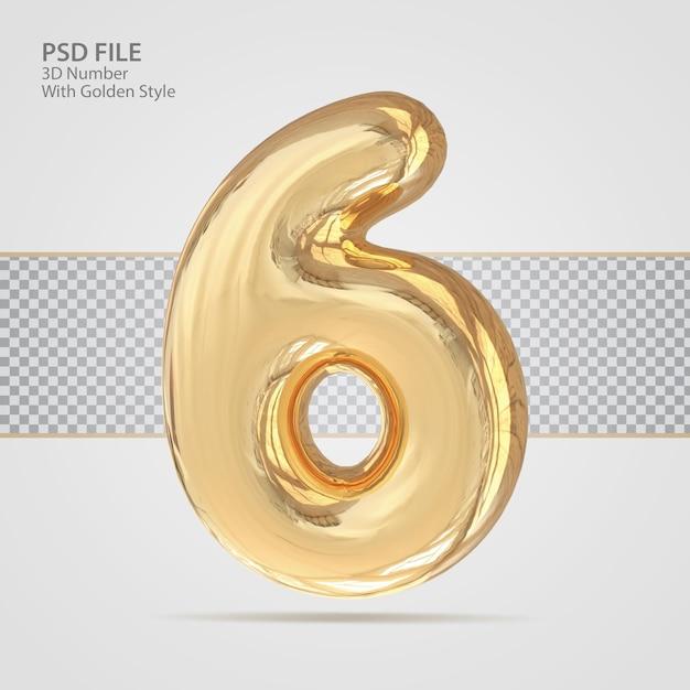 3d номер 6 с роскошным креативом в золотом стиле