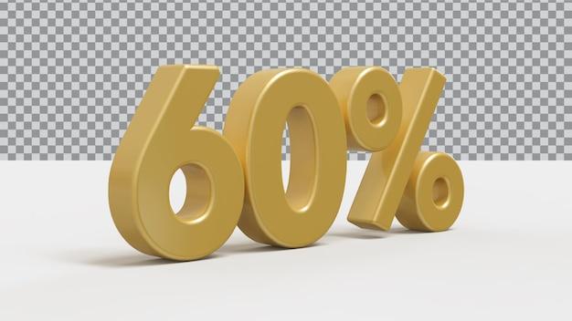3d номер 60 процентов золотой роскоши рендера