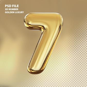3d номер 7 золотой роскошный рендер