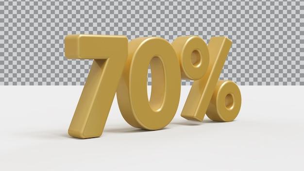 3d номер 70 процентов золотой роскоши рендера