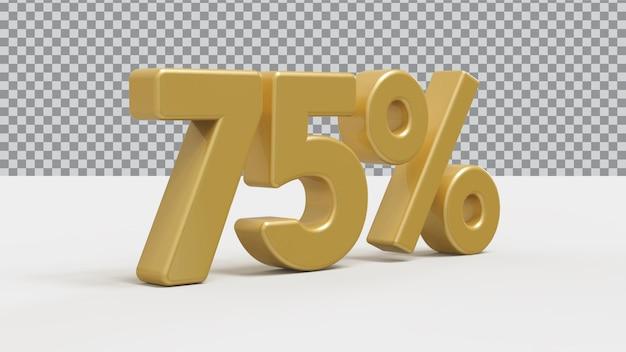 3d номер 75 процентов золотой роскоши рендера