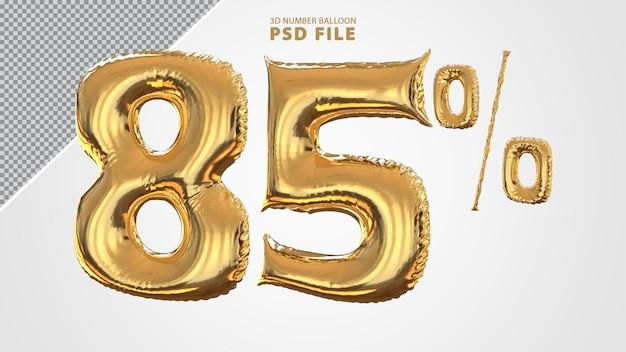 3d номер 8 процентов шар золотой Premium Psd