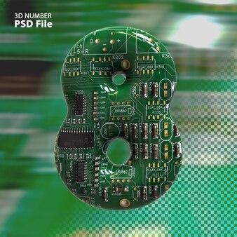 3d номер 8 текстуры электронных плат pcb рендеринга