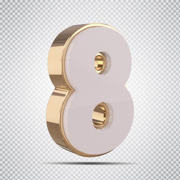 ゴールドスタイルのレンダリングで3d番号8