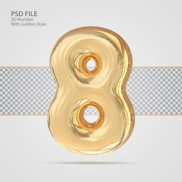 3d номер 8 с роскошным креативом в золотом стиле