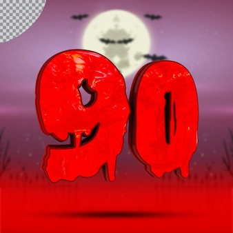 할로윈의 3d 숫자 90