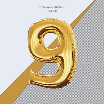 3d номер воздушный шар золотой