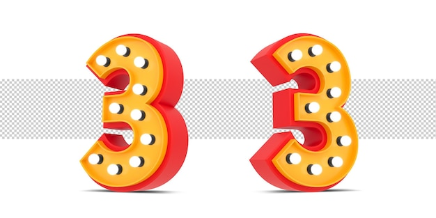 3d number broadway style with light bulb, 3d rendering