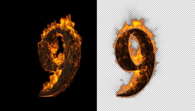 화재와 불꽃 효과를 잡는 3d 숫자