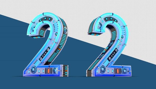 青いネオンとネオンライト効果の3d番号。