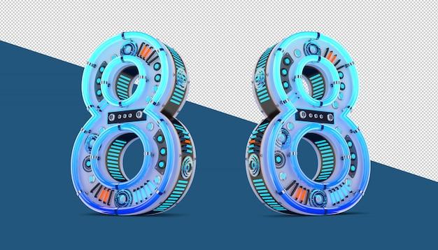 3d номер с эффектом синего неона и неонового света.