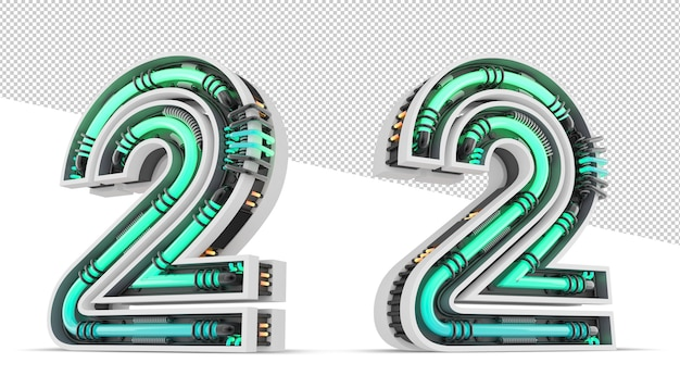 3d number with green neon light effect