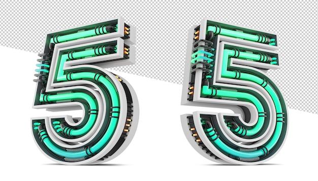 緑のネオンライト効果の3d番号