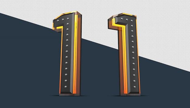 ピン装飾とネオンライト効果の3d番号