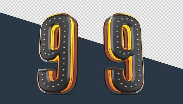 3d number with pin decoration and neon light effect
