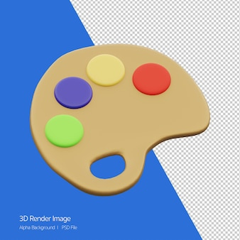 3d object rendering of color palette board icon isolated on white.