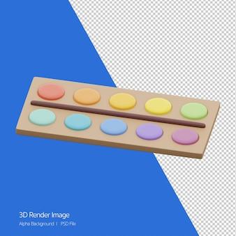 3d-объект визуализация значка платы цветовой палитры, выделенной на белом.