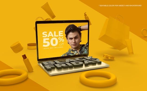 3d объекты и ноутбук для черной пятницы