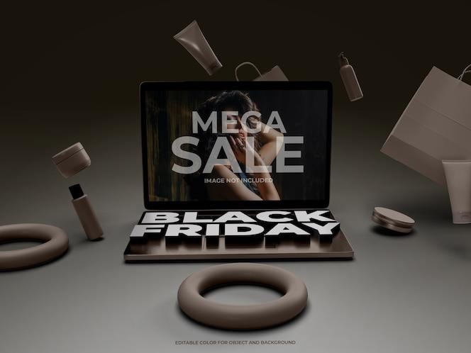 블랙 프라이데이 용 3d 개체 및 노트북