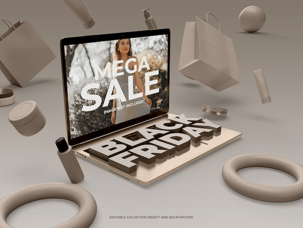 3d objects and laptop for black friday