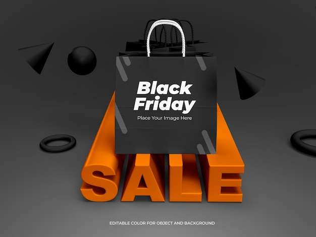 3d objects and shopping bag for black friday black mockup