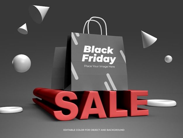 3d objects and shopping bag for black friday mockup