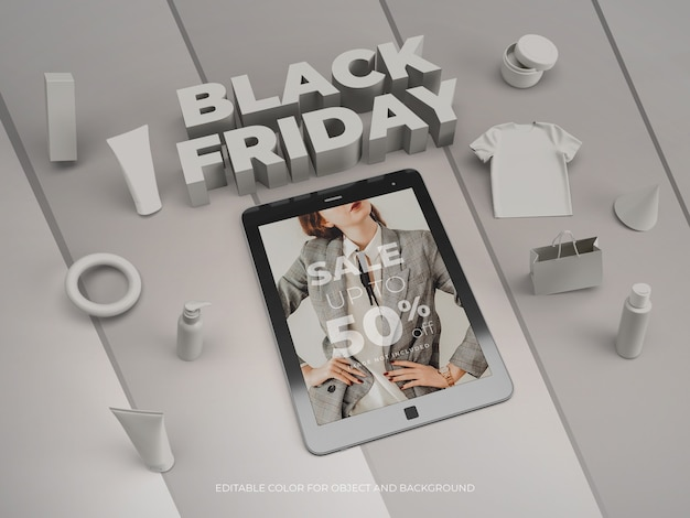 3d objects and tablet for black friday mockup