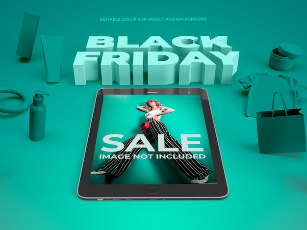 3d objects and tablet for black friday