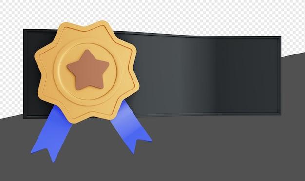 3d эмблема баннера с звездным знаком и лентой изолированы