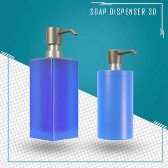 3d из двух бутылок с дозатором безвоздушного насоса