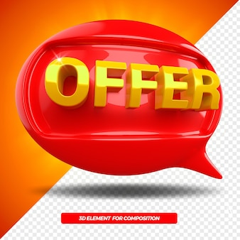 3d offer ballon message left icon