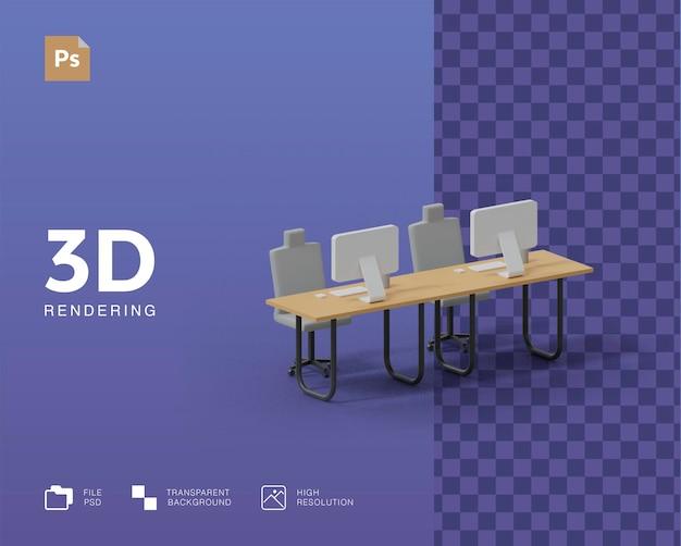 3d визуализация офисной иллюстрации Premium Psd