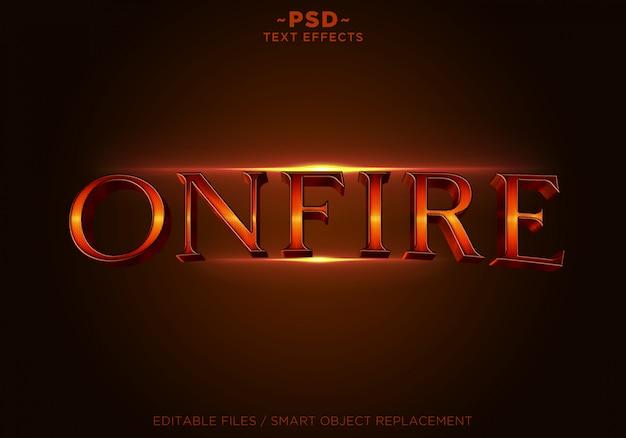 3d onfireスタイルエフェクトテンプレートテキスト