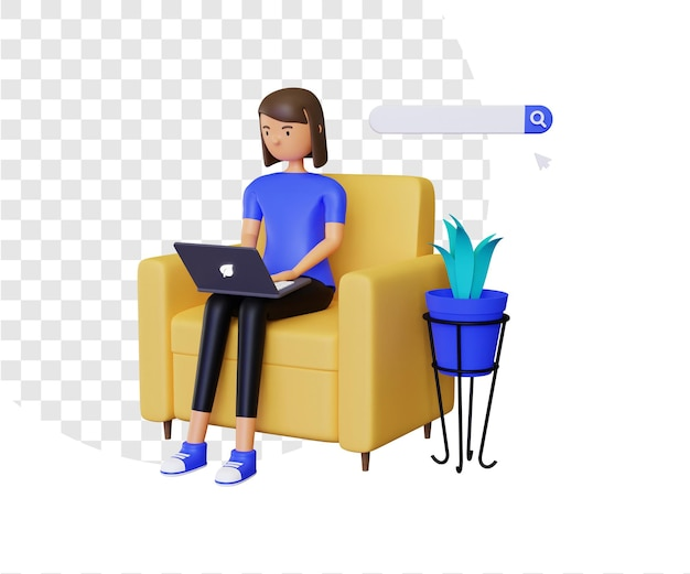 3d online browsing with female character
