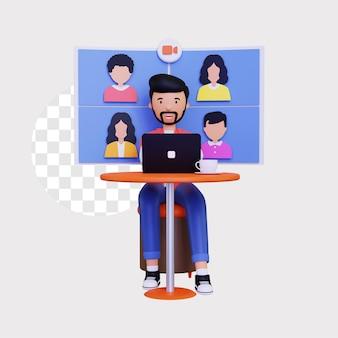 3d иллюстрация концепции видео группы онлайн