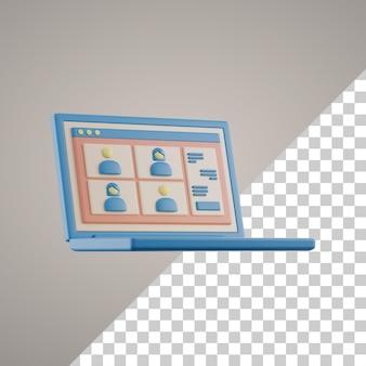 Apprendimento online 3d su laptop