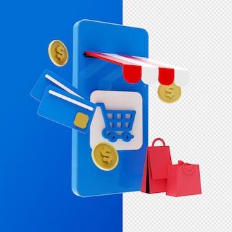 3d-концепция интернет-магазинов и мобильное приложение