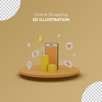 3d online shopping on laptop website service digital marketing sale concept