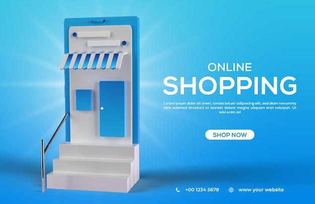 3d баннер в социальных сетях для онлайн-покупок с мобильной концепцией