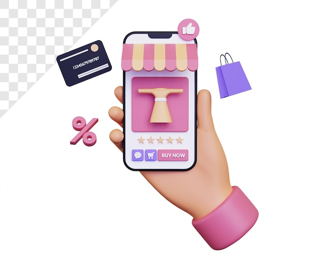 3d online shopping via smartphone with discount icon and shopping bag