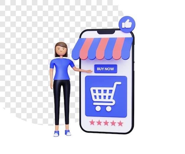 여성 캐릭터와 함께하는 3d 온라인 쇼핑 프로모션 중