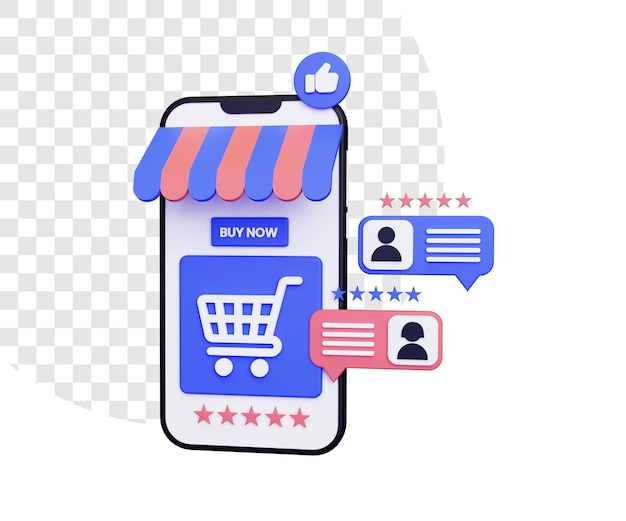 3d online shopping with positive reviews and star rating