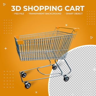 3d orange color metal shopping cart isolated