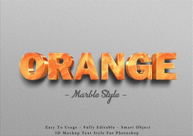 3d оранжевый мрамор текстовый эффект шаблон