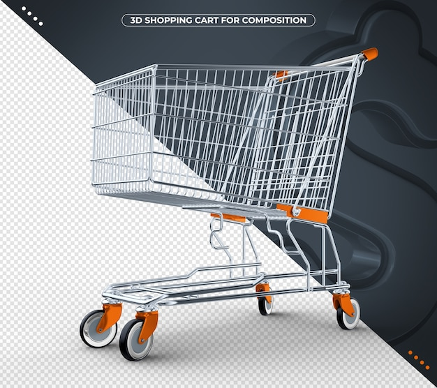 3d orange shopping cart isolated on black background